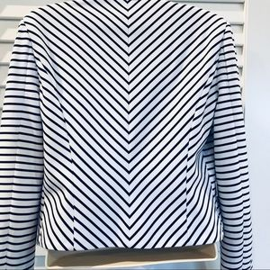 Ark & Co Jackets & Coats - Ark& Co. Black & White Pira Drape Striped Blazer